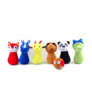 Kids Bowling Set with Six Numbered Plush Animal Pins